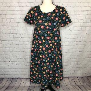 LuLaRoe Carly dark green dress w/ red/blu/yel flor